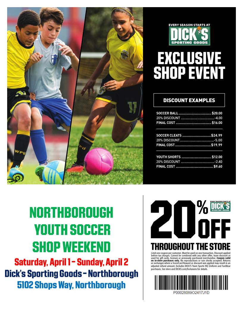 Northborough Youth Soccer Shop Weekend Flyer